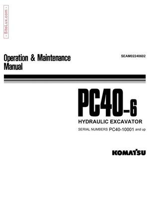 Komatsu PC40-6 Hydraulic Excavator (10001 and up) Operation & Maintenance Manual - SEAM02240602