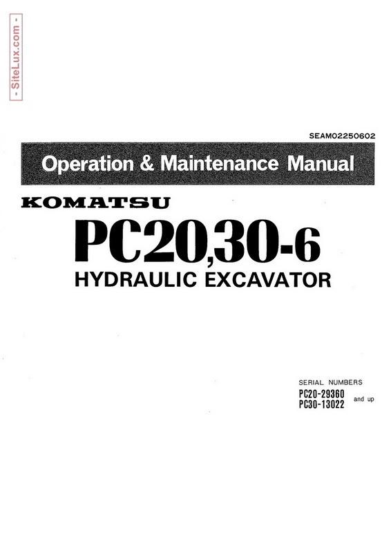 Komatsu PC20-6, PC30-6 Hydraulic Excavator OM Manual - SEAM02250602