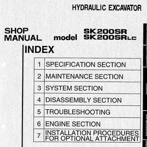 Kobelco SK200SR & SK20DSRLC Hydraulic Excavator Shop Manual - S5YB0002E2