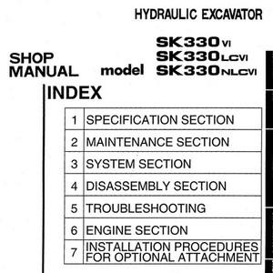 Kobelco SK330VI, SK330LCVI, SK330NLCVI Hydraulic Excavator Shop Manual - S5LC0007E3