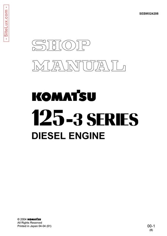 Komatsu 125-3 Series Diesel Engine Shop Manual - SEBM024208