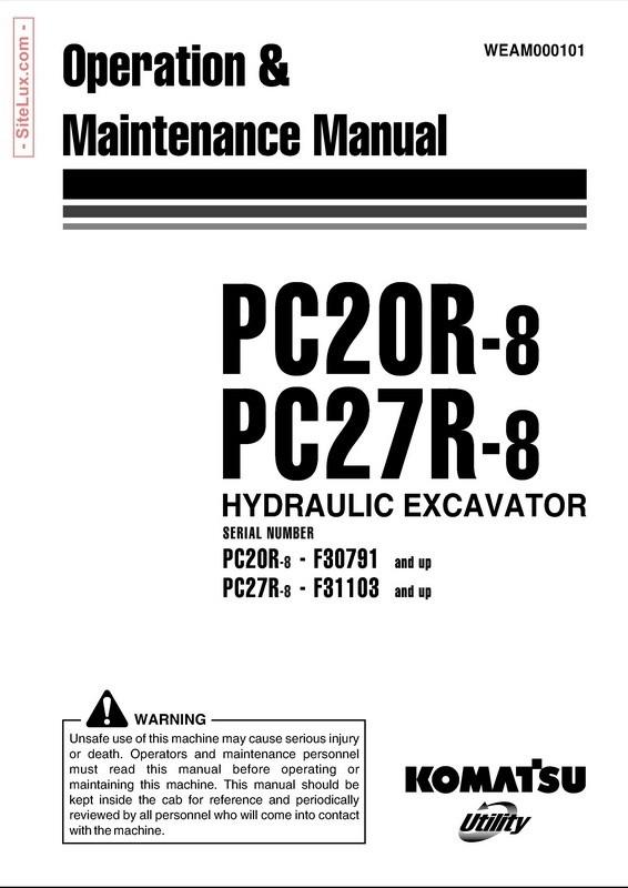 Komatsu PC20R-8, PC27R-8 Hydraulic Excavator OM Manual - WEAM000101