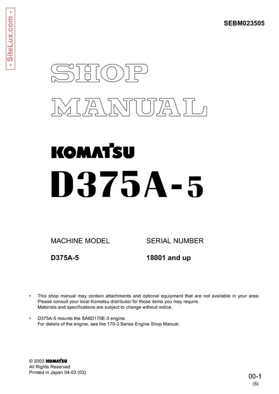 Komatsu D375A-5 Bulldozer (18001 and up) Shop Manual - SEBM023505