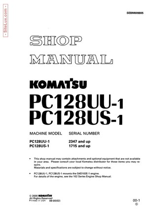 Komatsu PC128UU-1, PC128US-1 Hydraulic Excavator Shop Manual - SEBM009805