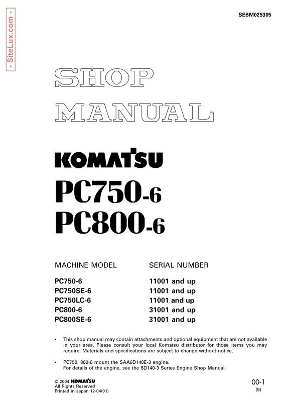 Komatsu PC750-6, PC800-6 Hydraulic Excavator Shop Manual - SEBM025305