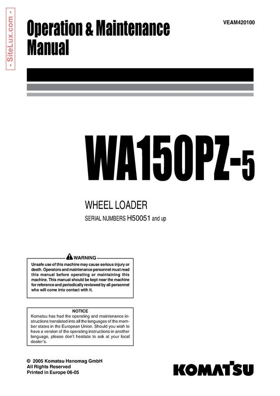 komatsu wa150pz 5 wheel loader operation maintenance rh sellfy com Operations and Maintenance Manual for Lab Safety Facilty Maintenance and Operation Manual