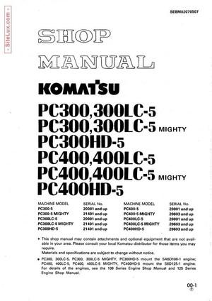 Komatsu PC300,PC400,LC,HD,-5 Mighty Hydraulic Excavator Shop Manual - SEBM02070507