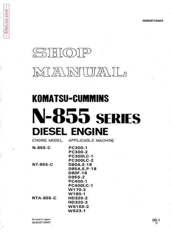 komatsu cummins n 855 series diesel engine shop manual rh sellfy com cummins nt855 workshop manual cummins nt855 service manual pdf