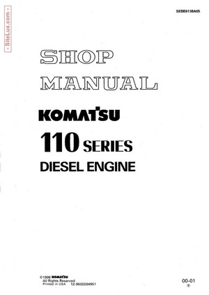 Komatsu 110 Series Diesel Engine Shop Manual - SEBE6138A05