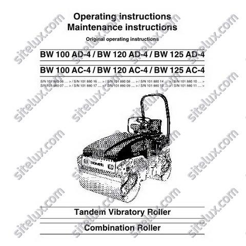 Bomag Tandem Vibratory Roller / Combination Roller Operation & Maintenance Manual Instructions
