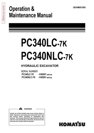 Komatsu PC340LC-7K, PC340NLC-7K Hydraulic Excavator (K40001 and up) OM Manual - UEAM001505