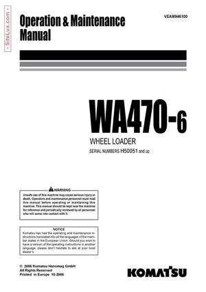 Komatsu WA470-6 Wheel Loader Operation & Maintenance Manual - VEAM946100