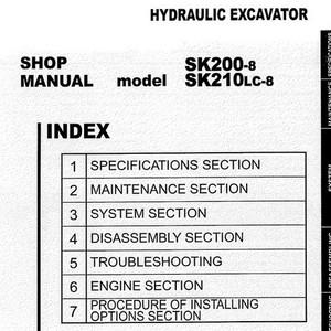 Kobelco SK200-8, SK210LC-8 Hydraulic Excavator Shop Manual - S5YN0018E01