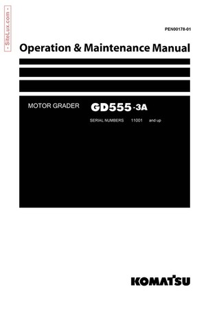 Komatsu GD555-3A Motor Grader Operation & Maintenance Manual - PEN00178-01