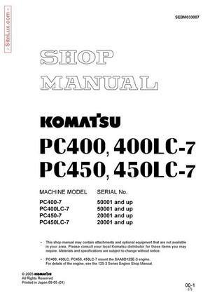 Komatsu PC400,400LC,450,450LC-7 Hydraulic Excavator Shop Manual - SEBM033007