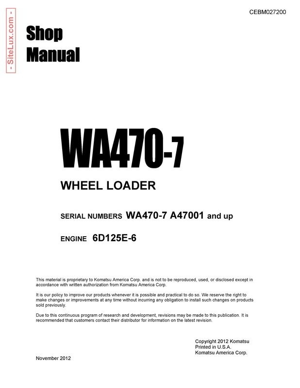 Komatsu SWA470-7 Wheel Loader Shop Manual - CEBM027200