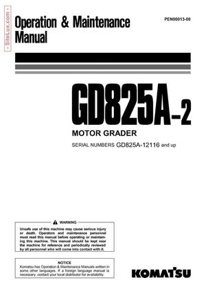 Komatsu GD825A-2 Motor Grader Operation & Maintenance Manual - PEN00013-00