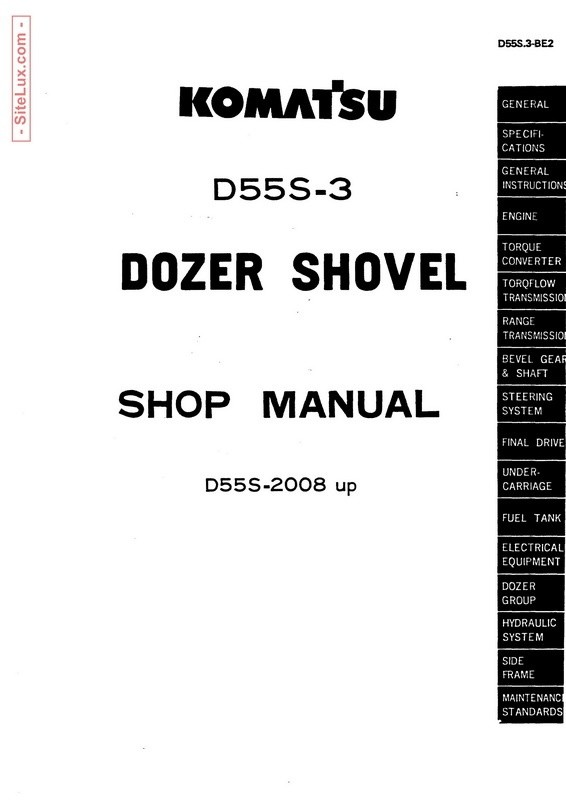 Komatsu D55S-3 Dozer Shovel (2008 and up) Shop Manual