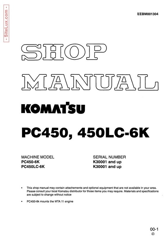 Komatsu PC450-6K, PC450LC-6K Hydraulic Excavator (K30001 and up) Shop Manual - EEBM001304