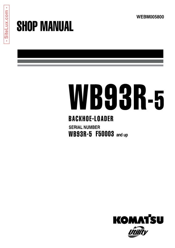komatsu wb93r 5 backhoe loader shop manual webm00580 rh sellfy com  komatsu wb93r-5 service manual