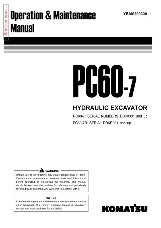 Komatsu PC60-7 Hydraulic Excavator Operation & Maintenance Manual - YEAM200300