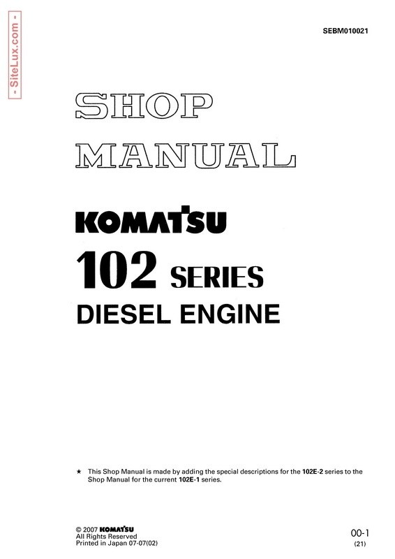 Komatsu 102 Series Diesel Engine Shop Manual - SEBM010021