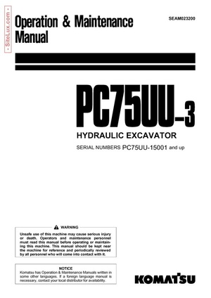 Komatsu PC75UU-3 Hydraulic Excavator (15001 and up) OM Manual - SEAM023200