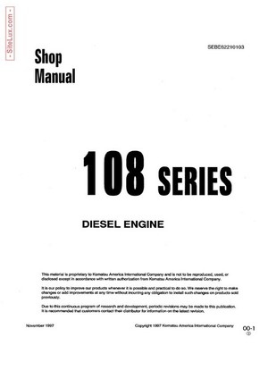 Komatsu 108-1 Series Diesel Engine Shop Manual - SEBE62210103