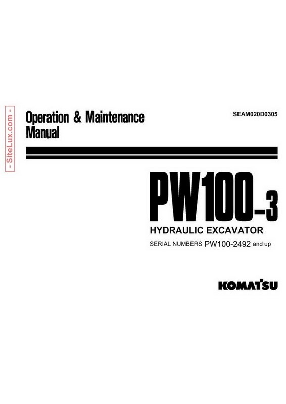 Komatsu PW100-3 Hydraulic Excavator (2492 and up) OM Manual - SEAM020D0305