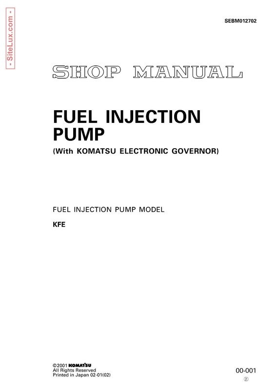 Komatsu KP21 Fuel Injection Pump Models Shop Manual - SEBM012702
