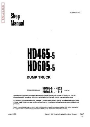 Komatsu HD465-5, HD605-5 Dump Truck Shop Manual - SEBM015202