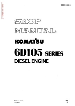 Komatsu 6D105 Series Diesel Engine Shop Manual - SEBE61360109