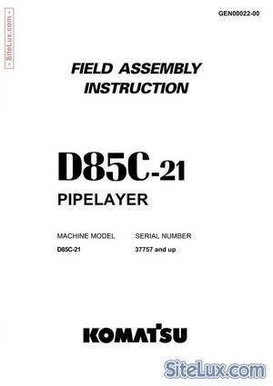 Komatsu D85C-21 Pipelayer Field Assembly Instruction - GEN00022-00