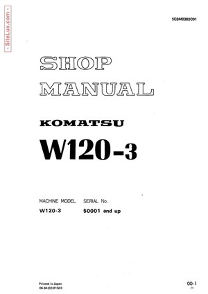 Komatsu W120-3 Wheel Loader Shop Manual - SEBM0383C01