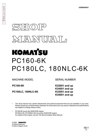 Komatsu PC160-6K, PC180LC-6K, 180NLC-6K Hydraulic Excavator Shop Manual - UEBM000601