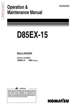 Komatsu D85EX-15 Bulldozer (10001 and up) Operation & Maintenance Manual - EEAM022800