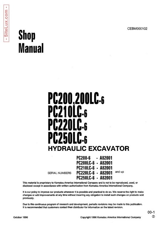Komatsu PC200,200LC,210LC,220LC,230LC-6 Hydraulic Excavator (A82001 and up) Shop Manual - CEBM000102