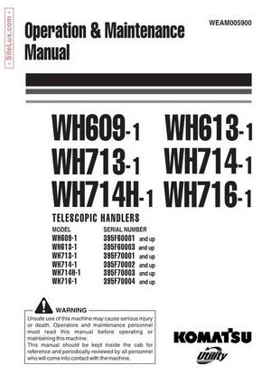 Komatsu WH609-WH716 Telescopic Handlers Operation & Maintenance Manual - WEAM005900