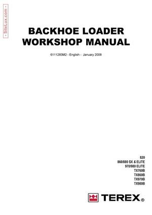 Terex Backhoe Loader 820, 860, 880, 970, 980, SX & Elite Workshop Manual