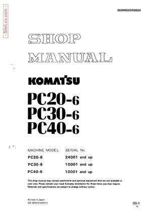 Komatsu PC20-6, PC30-6, PC40-6 Hydraulic Excavator Shop Manual - SEBM020R0604