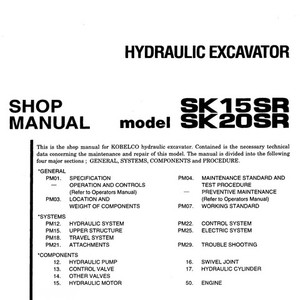 Kobelco SK15SR & SK20SR Hydraulic Excavator Shop Manual - S5PM0002E