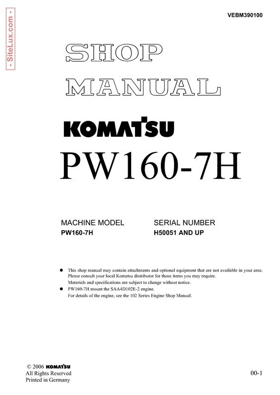 Komatsu PW160-7H Hydraulic Excavator (H50051 and up) Shop Manual - VEBM390100