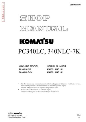 Komatsu PC340LC-7K, PC340NLC-7K Hydraulic Excavator (K40001 and up) Shop Manual - UEBM001501