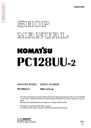 Komatsu PC128UU-2 Hydraulic Excavator (5001 and up) Shop Manual - SEBM018506