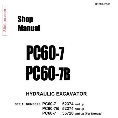 komatsu pc60 7 pc60 7b hydraulic excavator shop manu