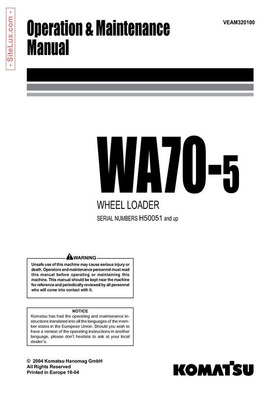 Komatsu WA70-5 Wheel Loader Operation and Maintenance Manual - VEAM320100