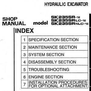 Kobelco SK235SR-1E, SK235SRLC-1E, SK235SRNLC-1E Hydraulic Excavator Shop Manual - S5YF0002E1