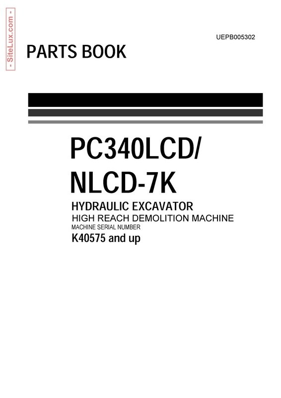 Komatsu PC340LCD-7K,PC340NLCD-7K Hydraulic Excavator (K40575 and up) Parts Book - UEPB005302