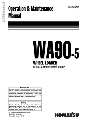 Komatsu WA90-5 Wheel Loader Operation & Maintenance Manual - VEAM270101