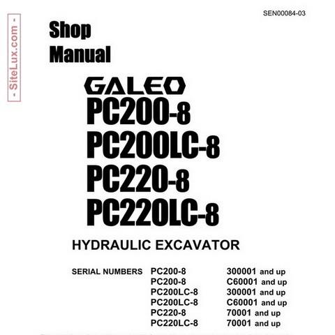 Komatsu PC200-8, PC200LC-8, PC220-8, PC220LC-8 Hydraulic Excavator Shop Manual - SEN00084-03